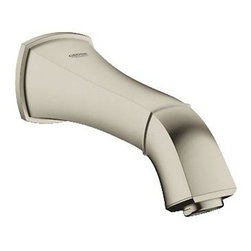"""Grohe - Grohe 13342EN0 Grandera Wall Mount Low Arc Tub Spout, Brushed Nickel - Grohe 13342EN0 Grandera Wall Mount Low Arc Tub Spout, Brushed Nickel The GROHE Grandera collection is both a homage to an age of grandeur long past and an affirmation of a modern sensibility, combining the highest standards of quality and craftsmanship with a love of detail and comfort. Stylistically, the Grandera collection can be combined with a wide range of bathroom furnishings, with the added flexibility of two colors - chrome and chrome/gold. With StarLight technology, not only will the fittings retain their shine in the long term but they are also extremely resistant to dirt and scratches. Grohe 13342EN0 Grandera Wall Mount Low Arc Tub Spout, Brushed Nickel Features: GROHE SilkMove Ceramic Cartridge 1/2"""" Valves Limited Lifetime Manufacturer Warranty Flow Control Grohe 13342EN0 Grandera Wall Mount Low Arc Tub Spout, Brushed Nickel Specifications: Product Weight: 2.53 lbs Product Le"""