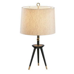 Robert Abbey - Jonathan Adler Ventana Table Lamp - With its sleek, ebony wood tripod legs and pointed brass or nickel toes, this table lamp has got both class and character. The natural linen shade with white acrylic diffuser has a subtle elegance and gives off an invitingly warm, soft light. Try it on your desk or by the couch.