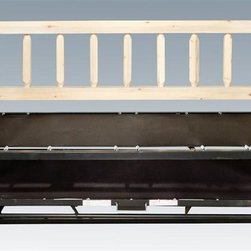 Montana Woodworks - Day Bed with Trundle Bed - Hand crafted. Sawn square timbers and trim pieces for rustic timber frame design. Heirloom quality. Mortise and tenon joinery system. Made from U.S. solid grown wood. Lacquered finish. Made in U.S.A.. Assembly required. 87 in. L x 46 in. W x 48 in. H (170 lbs.). Warranty. Use and Care InstructionsFrom Montana Woodworks, the largest manufacturer of handcrafted quality log furnishings in America comes the all new Homestead Collection line of furniture products. This classic day bed frame with pop up trundle mechanism from Montana Woodworks provides the customer with a robust and rustic platform on which they can rely for years of trouble free use. Each piece signed by the artisan who makes it. When trundle bed combined, makes into king sized bed.