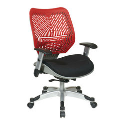 Office Star - Space Seating 86 REVV Series Unique Self Adjusting Cosmo SpaceFlex Back & Raven - Unique Self Adjusting Cosmo SpaceFlex  Back Managers Chair. Self adjusting SpaceFlex  Backrest Support System with Breathable Raven Mesh Seat, One Touch Pneumatic Seat Height Adjustment, Self Adjusting 4 to 1 Synchro Tilt Control with 3 Position Lock and Anti-Kick Function, Tilt Tension Adjustment, Height Adjustable Platinum Coated Arms with Soft PU Pads, Heavy Duty Platinum Coated Base with Black End Caps and Dual Wheel Carpet Casters.