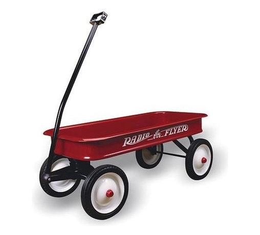 """Radio Flyer Products - Radio Flyer Products - Classic Red Wagon - Parents Magazine Toy Hall of FameLargest steel wagon.  Extra-long handle for easy pulling.  Durable steel wheels with real rubber tires for a quiet ride.  Handle folds under for easy storage.  No-pinch ball joints keeps fingers safe.  """"No-Scratch"""" edges keep fingers safe.  Non-tip turning radius prevents tipping.  Controlled turning radius prevents tipping.  For ages over 1-1/2"""