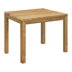 """Vigo Square Dining Table - 35"""" x 35"""" - This collection of rustic chic furniture is made of brushed chunky recycled teak. Dining tables come in various sizes and combine handwoven wicker chairs in all-weather Rehau fibers. The slight bend in the chair backs offers ergonomic comfort."""