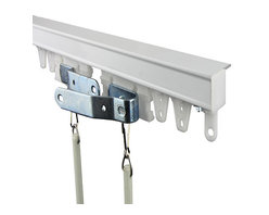 Rod Desyne - Commercial Ceiling White 96-Inch Curtain Track Kit - - Rod Desyne is pleased to introduce our Commercial Ceiling Curtain Track kit. This system is excellent for floor to ceiling curtains and drapery panels usually seen in hotel rooms. Perfect for use as a room divider. Sturdy and smooth operation with baton draw  - Ball Bearing Carrier Quantity: 26  - Projection: 1.125-Inch  - Includes one 0.75-Inch Tall and 1.8-Inch Wide aluminum ceiling track, one pair of white master carrier, 2 batons, 2 metal end stops, carriers, mounting brackets and mounting hardware  - Cleaning and Care Instructions: Wipe clean Rod Desyne - TK8C