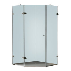 Vigo - Vigo 42 x 42 Frameless Neo-Angle 3/8in.  Frosted/Chrome Shower Enclosure Right - Vigo's exquisite taste and superior quality is reflected in this totally frameless neo-angle shower enclosure