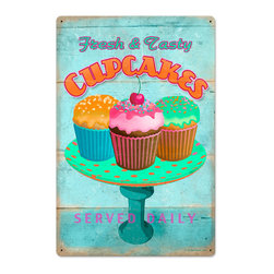 Past Time Signs - Cupcake Fresh Vintage Metal Sign - This vintage metal sign is hand made with pride in the USA using heavy gauge American steel. The high-resolution graphics are sublimated and powdercoated for a long-lasting durable finish. Then, it's worked over by hand to give it that vintage look and feel. It's perfect for your %customfield:genre% Man Cave, Game Room, Office, or anywhere you want to show love for your favorite things.