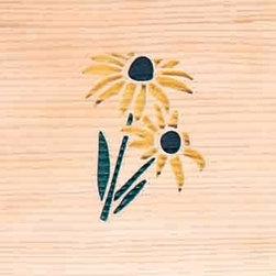 Door Mat:  Bamboo Sticks, Black Eyed Susan - Cedar Wood Door Mat - Black Eyed Susan