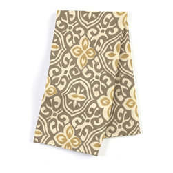 "Tan & Gold Moroccan Mosaic Custom Napkin Set - Our Custom Napkins are sure to round out the perfect table setting""""_whether you're looking to liven up the kitchen or wow your next dinner party. We love it in this taupe & mustard yellow block print reminiscent of traditional morrocan mosaics."