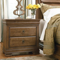 New Lou 2 Drawer Nightstand - Cognac - The New Lou 2 Drawer Nightstand – Cognac updates Louis Philippe style for the needs of the modern bedroom, pairing traditional accents such as antiqued bronze ring pull hardware with convenient features such as a hidden power outlet beneath a lift-lid top. Built from solid alder wood for years of natural beauty and reliable performance, this charming piece is the book storing, smart phone charging, day brightening furnishing that every traditional bedroom needs.Hidden features make this two-drawer nightstand a design that's well worth exploring. Its top rail holds a secret drawer, with a jewelry tray insert for safe and discreet overnight storage. The functionality may be contemporary, but the New Lou nightstand is still a 19th century creation at heart. Its classic inspiration is honored and subtly updated by a rich cognac finish with light distressing, providing universal appeal for traditional and contemporary tastes.About Universal Furniture InternationalRecognized as a leader in exceptionally crafted home furnishings, including bedroom and dining room items, entertainment centers, and more, Universal strives to make items that are styled to endure but always remain fresh. They make it a goal to include features that fit the way their customers live today, and to find prices that put high-quality products within reach. These are the principles that guide the work at Universal, essential elements of good, affordable, and smart design.