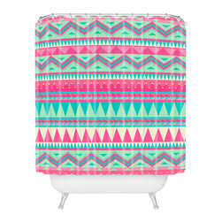DENY Designs - Iveta Abolina Pink Navajo Shower Curtain - Who says bathrooms can't be fun? To get the most bang for your buck, start with an artistic, inventive shower curtain. We've got endless options that will really make your bathroom pop. Heck, your guests may start spending a little extra time in there because of it!