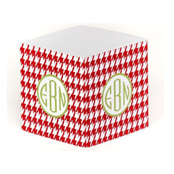 Clairebella Personalized Note Cube, Holiday Houndstooth - Write your Christmas to-do list in style with this Clairebella note cube from Layla Grace. I love the houndstooth pattern!