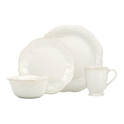 Lenox - Lenox White French Perle 4-piece Place Setting - Crafted of stoneware,this dinnerware set from Lenox is durable and perfect for everyday use. With its beaded motif resembling beautiful embroidery in ice blue,this French Perle dinnerware is dressy enough for more formal occasions as well.