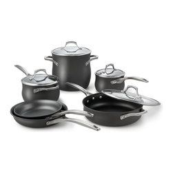 Calphalon Unison Nonstick 10 Piece Cookware Set - When you select a Calphalon Unison nonstick 10 piece cookware set you save about 20% as compared to buying each Calphalon cookware item individually. This cookware set from Calphalon has both types of non-stick finishes, slide and sear. The slide finish helps to minimize sticking of foods such as eggs and French toast, making your cooking and clean up tasks much easier.The Calphalon Unison sear surface gives you non-stick's ease of clean up plus the ability to sear meats. This special non-stick Unison sear surface is made to handle higher temperatures than other non-stick surfaces. The Unison high-temp non-stick surface is what allows you to make delicious-looking seared chicken, pork, even thicker cuts of fish. Calphalon pots and pans are made in the USA and have a lifetime warranty.