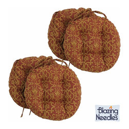 Blazing Needles - Blazing Needles 16 x 16-inch Round Outdoor Chair Cushions (Set of 4) - Add a touch of style and comfort to outdoor furnishings with the Blazing Needles Set of Four 16 x 16-inch Round Outdoor Chair Cushions. Available in 15 varieties,these cushions feature a classic tufted cushion style and include ties for easy fastening.