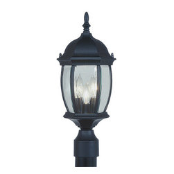 Livex Lighting - Livex Lighting 7538 3 Light 180W Post Light with Candelabra Bulb Base and Clear - 3 Light 180W Post Light with Candelabra Bulb Base and Clear Beveled Glass from Kingston SeriesProduct Features: