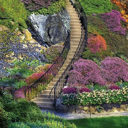 Garden Stairway Puzzle - 500 Piece Jigsaw PuzzleThe gentle variations in color combined with an overall similarity in texture make this an especially difficult 500-piece puzzle. Wondering where to start? Take a cue from the stairs and wind your way to the top.