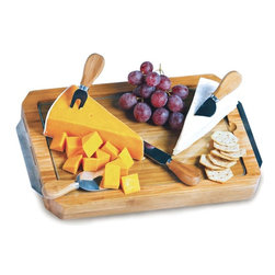"""Picnic Plus - Harmonia Cheese Board, Bamboo - Picnic Plus Harmonia Bamboo Cheese Board With Tempered Glass Surface, Bamboo. Color/Design: Bamboo; Tempered glass cutting surface; Reversible to store the 4 stainless steel cheese tools and glass safely away when not in use; Made with Natural eco friendly bamboo; Contemporary stainless steel carry handles; Removeable tempered glass for easy cleaning and food safety; Large 14""""w x 10""""D rectangular bamboo cheese board. Dimensions: 15""""W x 10""""D x 1 1/4""""H"""