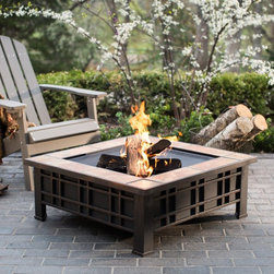 Red Ember - Red Ember Olympia Square Tile Fire Pit with FREE Cover - JZ-60243-N - Shop for Fire Pits and Fireplaces from Hayneedle.com! Create an ambient setting for your outdoor space with the wood burning Red Ember Olympia Square Tile Fire Pit. The beautiful square desert sand tile surround provides a warm welcome to guests and adds a calming aesthetic to your exisiting decor. Constructed durably from robust steel and finished in a rich rubbed bronze color this wood burning fire pit is ready to extend the outdoor seasons for all you're gatherings. The fire poker allows you to control the fire and the steel mesh grate provides plenty of air flow to promote a vibrant flame. Use the heavy duty lid and durable weather-resistant cover to protect it when not in use. About Red EmberAt the center of any good outdoor gathering is a fire. At the center of a fire a Red Ember. We make fire products designed to bring people together. Red Ember products harness the age-old power of fire to comfort heat cook and enchant. Our experience and expertise in the industry allow us to provide added features and extras without burning a hole in your pocket. It's not about spending a lot of money - it's about lighting a fire. Get together and gather 'round a Red Ember.