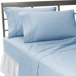 SCALA - 300TC Solid Blue Expanded Queen Flat Sheet & 2 Pillowcases - Redefine your everyday elegance with these luxuriously super soft Flat Sheet . This is 100% Egyptian Cotton Superior quality Flat Sheet that are truly worthy of a classy and elegant look.