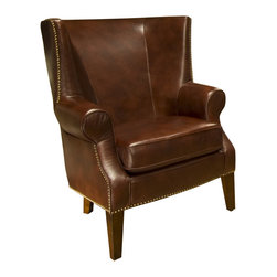 Elements Home Furnishing - Camden Accent Chair in Raisin Color - Upholstered with top grain leather. Raisin and stunning nail heads to highlight the base and sides. Made from top grain leather. Raisin color. Assembly required. 35 in. W x 38 in. D x 44.5 in. H (52.8 lbs.)The classic wingback design of the Camden Collection gives its guests that stoic and regal feeling, inviting you to sit back and enjoy a glass of wine or relax with a book.  Refined symmetry and smooth lines with tightly tailored cushions let you appreciate old world charm with new world comfort. This set will stay in the family for generations to come.