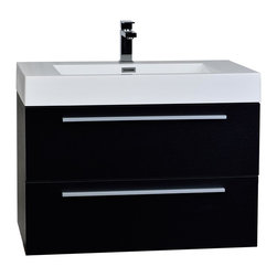 "CBI - ConceptBaths 31.5"" Wall-Mount Contemporary Bathroom Vanity Black TN-M800-BK - Featuring soft-closing drawer sliders, you'll never hear a drawer slam shut again. Constructed of white man-made stone counter, a high quality MDF cabinet in black finish."