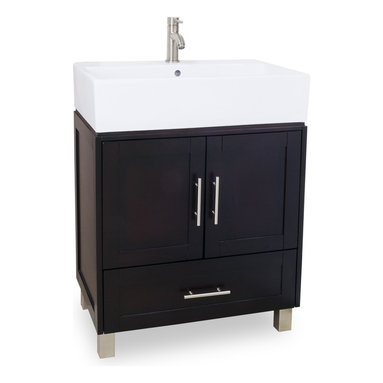 "Hardware Resources - Lyn Design Bathroom Vanity - York Vessel Vanity with Preassembled Large White Porcelain Vessel Bowl by Lyn Design. This 28"" solid wood vanity has an oversized vessel bowl/top and shaker cabinet to give an urban feel. The rich espresso finish and satin nickel hardware complete the look. A large cabinet and bottom drawer provide ample storage. The vessel bowl/top is cut for a single-hole faucet. Vanity: 28"" x 18-1/4"" x 36"" (with top), Style: Modern, Finish: Espresso, Materials: Birch solids and veneers, Top/Bowl: 6-3/8"" porcelain vessel top/bowl, Coordinating Mirror: MIR077, Faucet must be purchased separately."