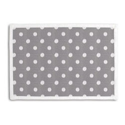 Gray & White Ikat Dot Custom Placemat Set - Class up your table�۪s act with a set of Tailored Placemats finished with a contemporary contrast border. So pretty you�۪ll want to leave them out well beyond dinner time! We love it in this gray and white ikat polka dot for the preppy modern outdoor space.