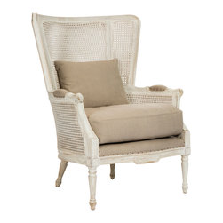 Kathy Kuo Home - Archdale French Style Caned Back Antique White Wing Salon Chair - Reminisce about a favorite vacation, adventure or romantic moment while relaxing in this antique white wing chair. We love the combination of casual cane with the stately support of solid, bleached oak. Sink into the magical, memory foam cushion and savor the moment in time.