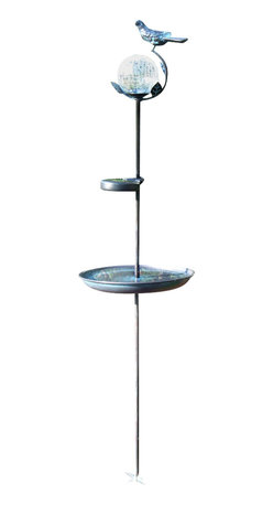 Smart Solar - Aquarius Birdbath Solar Stake w Glass Orb - Two-in-One decorative birdbath and solar accent for the garden . Crackled Glass orb illuminates with color changing LED . Stake light accent with decorative birds and leaves . Powered by an integral solar panel . Automatically turns on at dusk and off at dawn  . Up to 8 hours of light on a single charge . Replaceable rechargeable NiMH battery . No wiring, simply install and enjoy . No operating costs. Solar panel . Voltage: 2.0V. Current: 85mA . Power: 0.17W . Battery. Voltage: 1.2V . Capacity: AA 600mAh . 10.4 in. L x 5.3 in. W x 22.2 in. H (3 lbs.)In line with our policy of continuous product development Smart Solar reserves the right to change, vary or alter the product specification without prior notification. Patent pending.