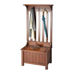 Butler Furniture - Mission Hall Tree (Item Ships In Two Cartons) - Selected solid woods, wood products and choice cherry veneers. Hinged seat reveals storage area. Cast metal coat hooks with antique brass finish.