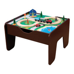 "KidKraft - Kidkraft Home Indoor Kids Playroom 2 In 1 Activity Table With Board Espresso - Our 2-in-1 Activity Table with Board is a fun gift idea for any young, imaginative child. The play board is compatible with LEGO products and parents are sure to love how the sturdy table keeps playtime off the floor. The stylish espresso finish is also a big plus  this train table is sure to look great in any kid's bedroom. Dimension: Table: 25""x 23""x 16"", Play board: 24""x 20"""