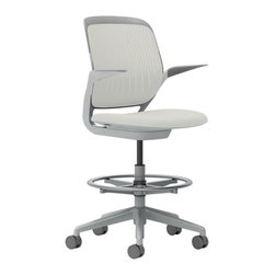 Steelcase - Steelcase Cobi Stool, Platinum Frame w/Arms & Soft Casters, Coconut - Want to get busy? Get comfortable. This cool stool features automatic, intuitive adjustments and support in a variety of postures, so your clock-watching days are over and your productivity will soar. All the incredible colors? That's your bonus!