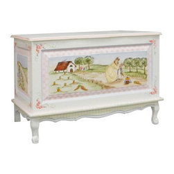 Furniture Toy Chest Enchanted Forest - This sweet toy chest can have a place in a playroom for generations. With handcrafted detail, this quaint piece is seriously one of a kind. Beatrix Potter herself couldn't have topped this.