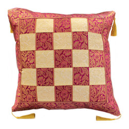 """Banarsi Designs - Game of Chess Pillow Cover, Set of 2, Creamy Plum - India is portrayed by its radiant and preposterous colors, designs, styles, and appealing textiles. One of Banarsi's intriguing designs is what we call the """"Game of Chess Pillow Cover"""" which exhibits the Middle Eastern ambiance in its splendorous plait pattern that intertwines two exotic tones, transforming it into a chess inspired pattern."""