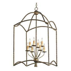 Currey and Company - Bamburgh Lantern - Framed with an open wrought iron cage, this chic chandelier shines beautifully in the foyer or above your dining table. It uses candelabra bulbs that add a bit of vintage contrast to its updated look for an elegant centerpiece that will brighten your home.