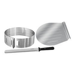 "Frieling - Layer Cake Slicing Kit, Stainless Steel - Stainless steel.  Fits cakes 10"" - 11"" diameter.  Easily and safely slices up to 8 even layers.  3 pieces set includes adjustable slicing mold, 12"" baker's knife, 11"" cake lifter.  5 year warranty."