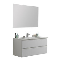 Macral - New Cuero Wall Mounted Bathroom Vanity 32 inches, White Leather - Macral Cuero bathroom vanity with genuine leather in front and MDF matte white lacquer on the sides. Porcelain glass counter-top with overflow and 1 hole for the faucet. LED light in the interior that turns on when the drawers open. LED lights work with batteries.