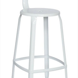 "Chintaly Imports - Alfresco Galvanized Steel Bar Stool in White - Set of 4 - Alfresco Galvanized Steel Bar Stool in White - Set of 4; Galvanized steel; Indoor and Outdoor use; Ergonomic T-shaped back; Easily assembled; Multi Color Options; Dimensions:14.96""W x 19.29""D x 42.13""H"