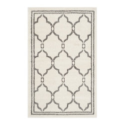 Safavieh - Safavieh Amherst Indoor/ Outdoor Ivory/ Grey Rug (3' x 5') - Perfect for any backyard, patio, deck or along the pool, this rug is great for outdoor use as well as any indoor use that requires an easy to maintain rug. Safavieh's Amherst collection was created for today's indoor/outdoor lifestyle.