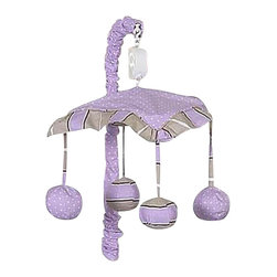 Sweet Jojo Designs - Purple Mod Dots Crib Mobile - The Purple Mod Dots Crib Mobile will have you putting your baby to sleep in style. When wound up this crib mobile spins and plays Brahms' lullaby. This musical crib mobile has been manufactured to fit standard sized cribs. The mobile set includes a musical mobile frame, canopy with hanging toys, and matching arm sleeve cover.
