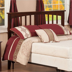 Atlantic Furniture - Atlantic Furniture Mission Twin Headboard in Antique Walnut-King - Atlantic Furniture - Headboards - R187854 - The simple yet elegant style of the Mission headboard will compliment any bedroom setting. The Traditional look and feel of the slats matched with generous crown molding make the Mission headboard a popular selection.