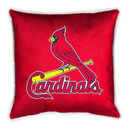 Sports Coverage - MLB St. Louis Cardinals Sidelines Toss Pillow - Make that new officially licensed MLB St. Louis Cardinals Sidelines Toss Pillow look as good as it feels. A must have for any true fan. A New Design - Same great quality!! Coordinating Toss pillow to match jersey material logo Comforter. Pillow is 17 x 17, 100% Polyester Cover and Fill. SIDELINES is trimmed in teams secondary color. 100% Polyester Jersey. Spot Clean only.
