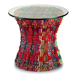 "EcoFirstArt - Mandara Table - This funky, global-style table is sure to rope you in. Colorful cotton fabric is braided into ropes called ""chindi,"" and woven around the sturdy wire frame of this glass-topped accent table. Since the cloth is recycled, no two are exactly alike."