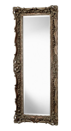 """Kathy Kuo Home - French European Ornate Carved Gilt Heritage Gold Leaf Floor Mirror 70"""" - Hung in a portrait or landscape orientation, this large traditional antique style mirror delivers an ornate yet functional view on any room.  Richly detailed and hand finished in an  heritage gold leaf, this piece will be right at home in any traditional home."""