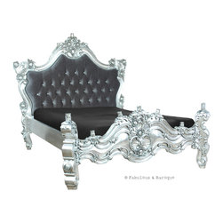 Fabulous & Baroque - Royal Fortune Montespan Bed - Silver Leaf & Grey Velvet - With its intricate and elaborate carvings, this luxurious mahogany, hand-carved Royal Fortune French silver leaf platform bed is the ultimate piece of furniture to turn any bedroom from bland to grand! We've added the ultimate in decadence by upholstering the headboard in a luxurious charcoal velvet and tufted it. Details include flowers, leaves and scrolls.