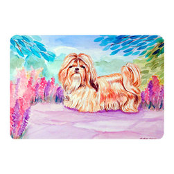 Caroline's Treasures - Shih Tzu Kitchen Or Bath Mat 20X30 - Kitchen or Bath COMFORT FLOOR MAT This mat is 20 inch by 30 inch.  Comfort Mat / Carpet / Rug that is Made and Printed in the USA. A foam cushion is attached to the bottom of the mat for comfort when standing. The mat has been permenantly dyed for moderate traffic. Durable and fade resistant. The back of the mat is rubber backed to keep the mat from slipping on a smooth floor. Use pressure and water from garden hose or power washer to clean the mat.  Vacuuming only with the hard wood floor setting, as to not pull up the knap of the felt.   Avoid soap or cleaner that produces suds when cleaning.  It will be difficult to get the suds out of the mat.