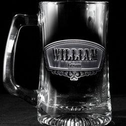 Groomsmen Gift Ideas, Engraved Best Man Gifts - Groom beer mug by Crystal Imagery.