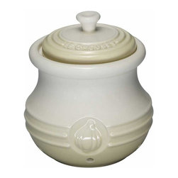 Le Creuset - Le Creuset Stoneware Garlic Keeper, Dune White - Le Creuset stoneware specialty crocks lend convenience and character to the countertop or tabletop, with food-inspired stylings and signature Le Creuset colors. Whether serving or storing, these classic designs recall traditional kitchen jars and crocks and feature all the durable and quick-cleaning benefits of Le Creuset stoneware.