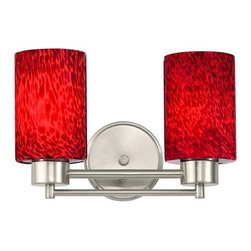 Design Classics Lighting - Modern Bathroom Light with Red Glass in Satin Nickel Finish - 702-09 GL1018C - Contemporary / modern satin nickel 2-light bathroom light. Takes (2) 100-watt incandescent A19 bulb(s). Bulb(s) sold separately. UL listed. Damp location rated.