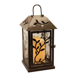 LumaBase Luminarias - Metal Lantern with Flickering LED Candle - Black Vine - This metal lantern brings a beautiful source of ambient light to your home or special event. With a battery operated LED candle, this lantern is safe to use indoors or outdoors. It is a versatile decor piece perfect for parties, holidays or any occasion. Perfect for pathways, seating areas, centerpieces and much more.