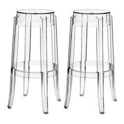 Modway - Modway EEI-909 Casper Bar Stools Set of 2 in Clear - The silhouette-inspired design of this counter stool is a sure attention grabber that coordinates with any color scheme. Constructed from transparent acrylic, this stunner includes non-marking feet that both help protect sensitive floors and stabilize the stool.